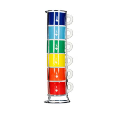 Bialetti Color - Zestaw 6 filiżanek do espresso na stojaku