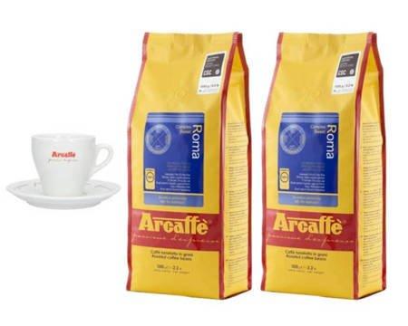 Kawa ziarnista Arcaffe Roma 2x1kg + Porcelanowa filiżanka Arcaffe ze spodkiem do cappuccino