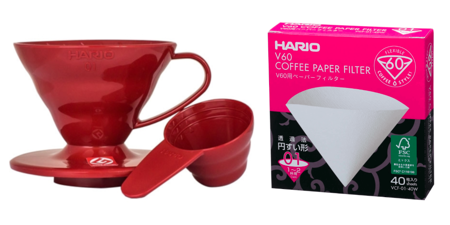 Plastikowy Drip Hario V60-01 - Czerwony + Filtry papierowe do dripa Hario V60-01 40szt